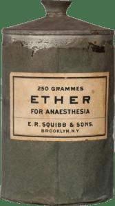 Fco. de éter del Dr. Edward Robinson Squibb. Finales del s. XIX.